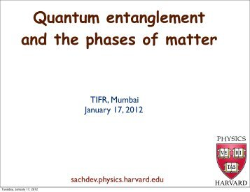 Quantum entanglement and the phases of matter