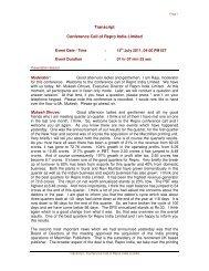 Conference call transcript - 15 Jul - Repro India