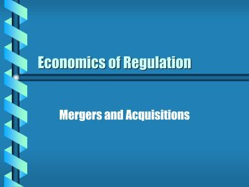 Economics of Regulation - Department of Economics