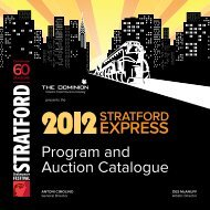 Program and Auction Catalogue - Stratford Festival