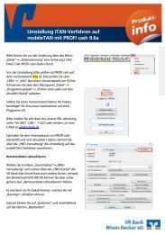 Umstellung iTAN-Verfahren auf mobileTAN mit PROFI cash 9.6a