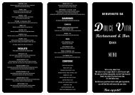 Food Menu - Dolce Vita Restaurant