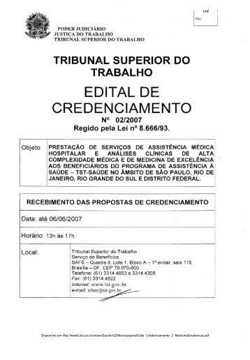 EDITAL DE CREDENCIAMENTO - TST