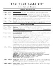 Road Rally 2007 Schedule of Events - Taxi