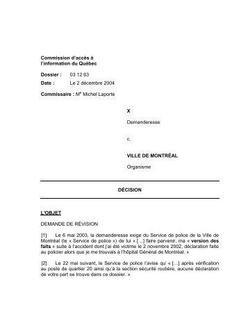 X c. Ville de Montréal - Commission d'accès à l'information du Québec