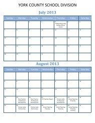 2013-14 School Calendar - York County Schools