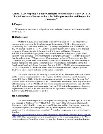 RESPONSE TO PUBLIC COMMENTS: PIH NOTICE 2012-18 ... - HUD
