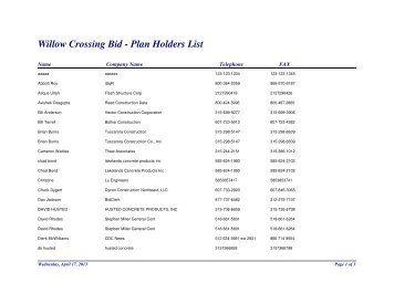 Willow Crossing Bid - Plan Holders List - Cortland County
