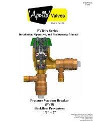 PVB4A Series Pressure Vacuum Breaker (PVB ... - Backflow Supply