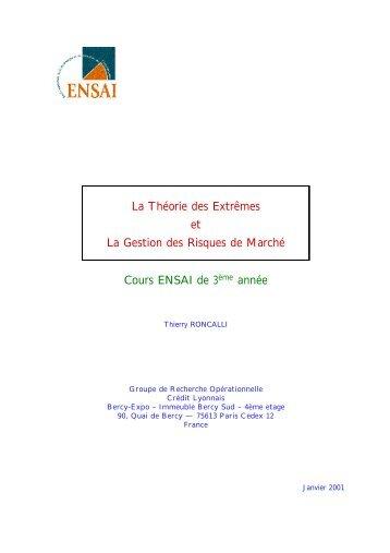 La théorie des extrêmes et la gestion des risques de ... - Maths-fi.com