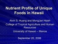 Nutrient Profile of Unique Foods in Hawaii