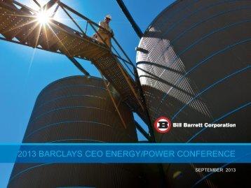 View Presentation - Bill Barrett Corporation