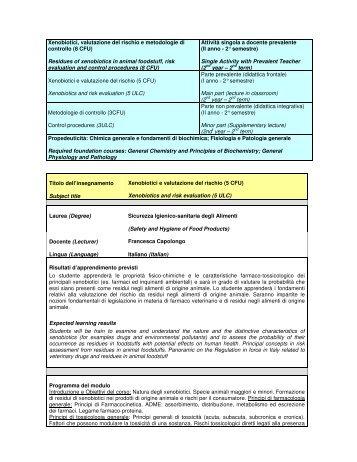 Xenobiotici, valutazione del rischio e metodologie di controllo (8 ...