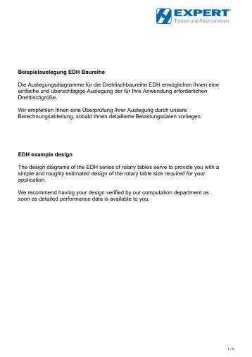 Beispielauslegung EDH Baureihe Die Auslegungsdiagramme für ...