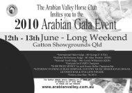 2010 Gala Schedule - Arabian Horse Society of Australia