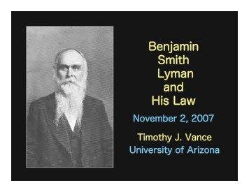 Benjamin Smith Lyman and His Law - University of Arizona