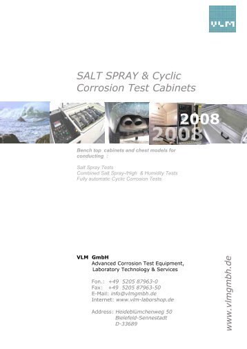 SALT SPRAY & Cyclic Corrosion Test Cabinets - Teo-Pal Oy