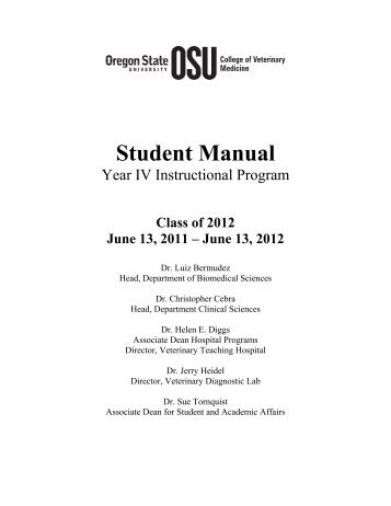 Student Manual - College of Veterinary Medicine - Oregon State ...