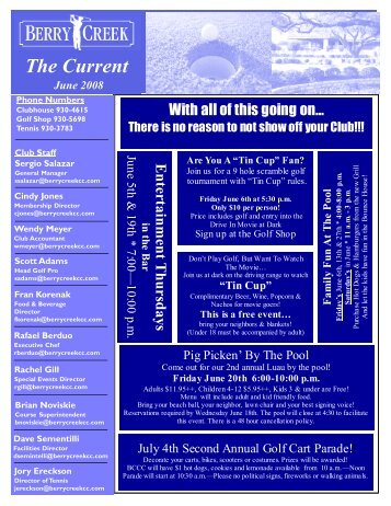 Berry Creek Golf News