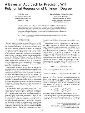 A Bayesian Approach for Predicting With Polynomial Regression of ...