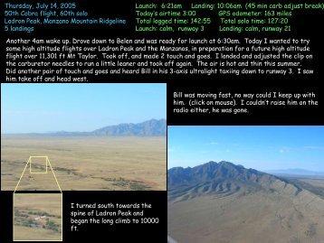 2005/07/14 Ladron Manzanos - Jeff's Flight Log