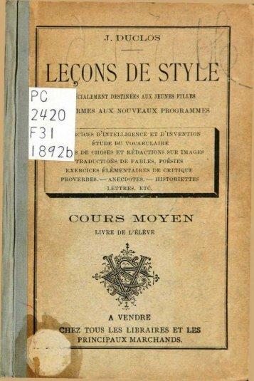 LEÇONS DE STYLE
