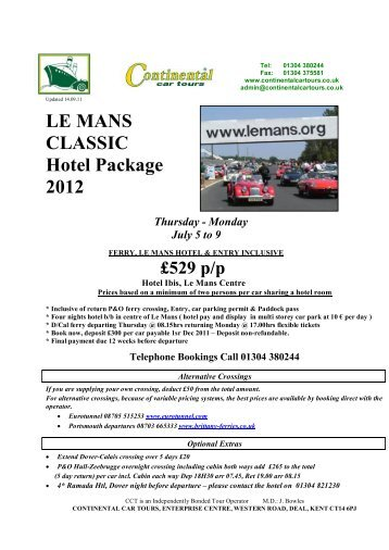 LE MANS CLASSIC Hotel Package 2012 - Continental Car Tours