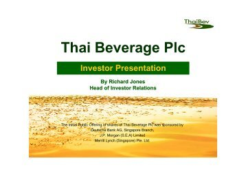 Thai Beverage Plc - Thai Beverage Public Company Limited