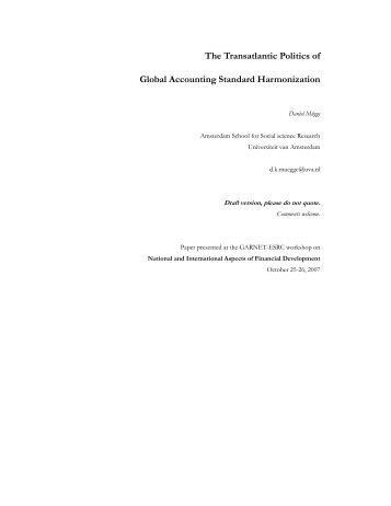 The Transatlantic Politics of Global Accounting Standard ... - Garnet