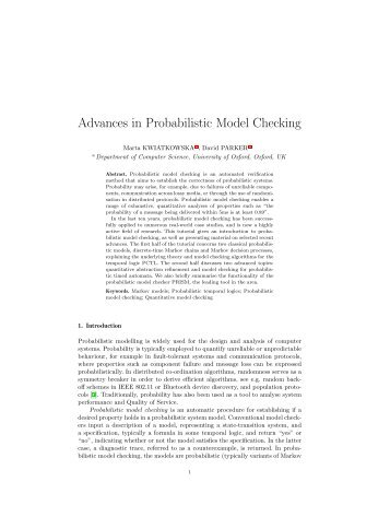Advances in Probabilistic Model Checking - Quantitative Analysis ...