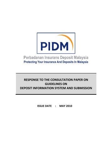 RESPONSE TO THE CONSULTATION PAPER ON ... - PIDM