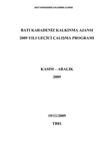 ÇKA Çalışma Programı - Batı Karadeniz Kalkınma Ajansı