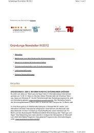 Gründungs-Newsletter III/2012 - Gründungsservice - TU Berlin