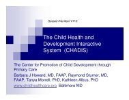 The Child Health and Development Interactive System (CHADIS)
