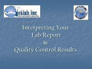 Interpreting the Quality Control Report - Teklab Environmental ...