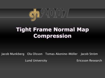 Tight Frame Normal Map Compression - Graphics Hardware