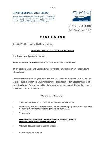 Einladung zur Gemeinderats- sitzung 29.05 - Wolfsberg