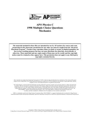 AP® Physics C 1984 Multiple Choice Questions Electricity and