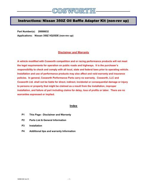 Instructions: Nissan 350Z Oil Baffle Adapter Kit (non