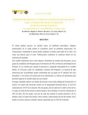 Vol. 2, N° 2. Año 1998 EXPRESIÓN DE MIEDO EN UN GRUPO DE ...