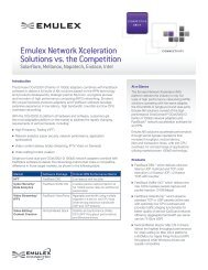 Emulex Network Xceleration Solutions vs. the Competition (Solarflare