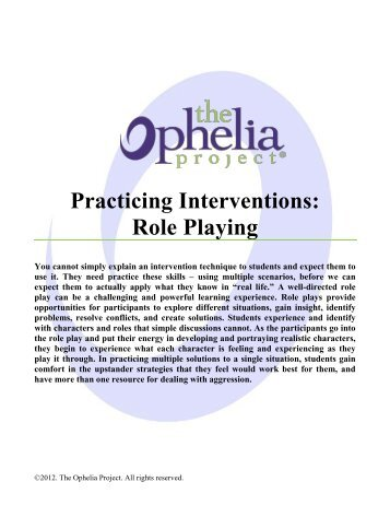 behavioral role play intervention Yrole playing yperformance intervention in middle school and high school classroom social skills in multiple general education settings.
