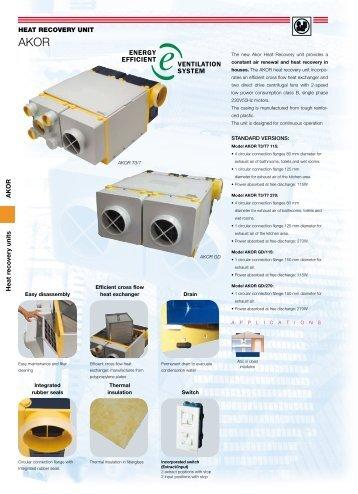 AKOR Heat recovery units HEAT RECOVERY UNIT - Soler & Palau
