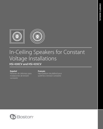 In-Ceiling Speakers for Constant Voltage ... - Boston Acoustics