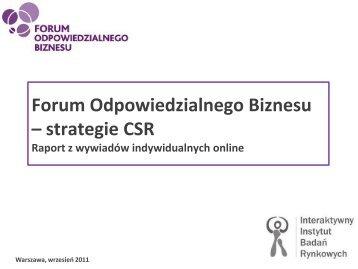 """Raport z badania """"Odpowiedzial... - Forum Odpowiedzialnego Biznesu"""