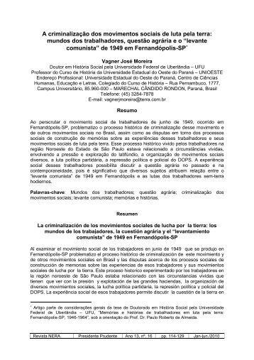 A criminalização dos movimentos sociais de luta pela terra ... - UNESP