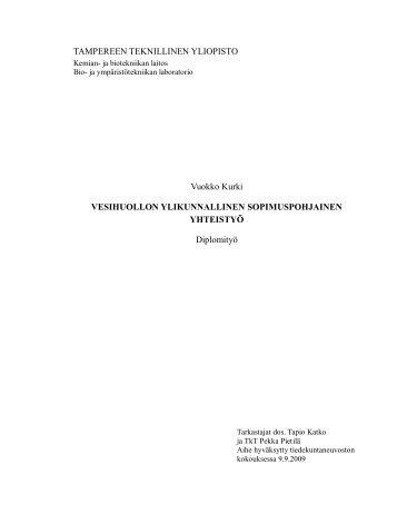 Vesihuollon ylikunnallinen sopimuspohjainen yhteistyö