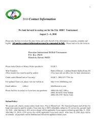 Contact page - Hawaiian International Billfish Tournament