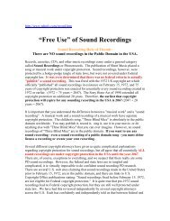 """""""Free Use"""" of Sound Recordings"""