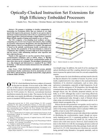 Optically-Clocked Instruction Set Extensions for High ... - IEEE Xplore